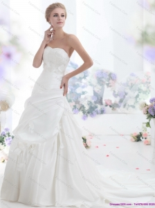 2015 Classical Strapless Beach Wedding Dress with Lace and Ruching