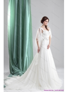 2015 Classical Straps Beach Wedding Dress with Beading