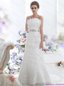 2015 Elegant Strapless Beach Wedding Dress with Beading and Ruching