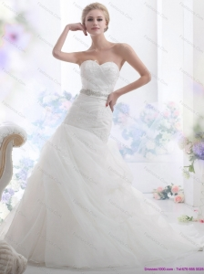 2015 Gorgeous Sweetheart Beach Wedding Dress with Beading