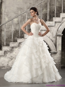 2015 Luxurious Beach Wedding Dress with Beading and Ruffled Layers