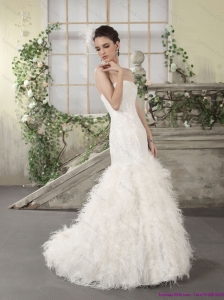 2015 New Style Strapless Beach Wedding Dress with Lace and  Feather