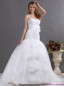 2015 Sophisticated Sweetheart Beach Wedding Dress with Brush Train