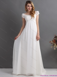 Classical 2015 Ruching Square Beach Wedding Dress with Floor-length