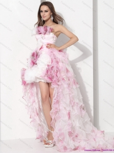 Dynamic Strapless High Low Beach Wedding Dress with Ruffles for 2015