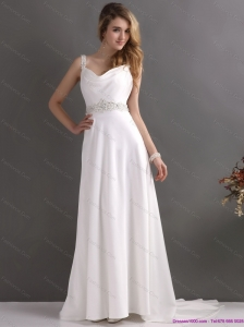 Inexpensive Straps Beach Wedding Dress with Paillette for 2015