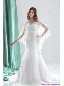 Pretty 2015 V Neck Beach Wedding Dresses with Beading and and Ruching