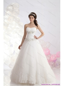 Sophisticated 2015 Sweetheart Beach Wedding Dress with Brush Train