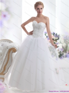 015 Modest Sweetheart A Line Beach Wedding Dress with Beading
