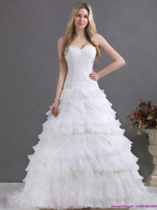 2015 Brand New Sweetheart Beach Wedding Dress with Lace and Ruffles