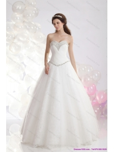 2015 Fashionable Sweetheart A Line Beach Wedding Dress with Beadings