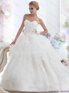 Dynamic 2015 Sweetheart Beach Wedding Dress with Hand Made Flowers