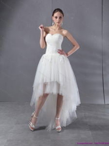High Low White Sweetheart Wedding Dresses with Ruching and Appliques