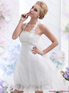 Short Halter Top Laced Wedding Dresses in White