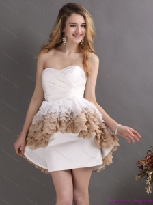 Short Pleated Sweetheart White Wedding Dresses with Ruffles