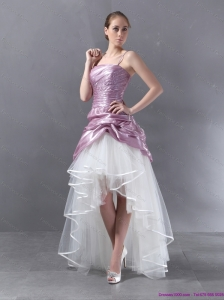 Short Ruched High Low Beaded Wedding Dresses in White and Lilac