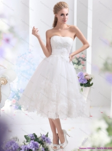 Short White Strapless Ruffled Wedding Dresses with Sequins