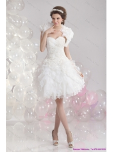 Short White Sweetheart Wedding Dresses with Ruffles and Sequins