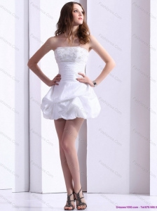 2015 Short Strapless Lace Wedding Dress with Mini-length