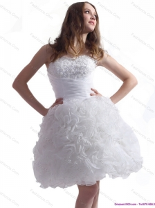 2015 Short Sweetheart Wedding Dress with Lace and Ruffles
