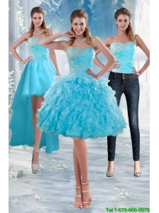 2015 Detachable  Delicate Sweetheart Baby Blue Prom Gown with Appliques and Ruffles