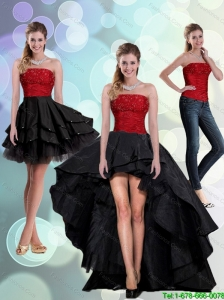 2015 Detachable Discount Strapless Beading Prom Dresses in Red and Black