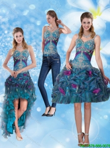 2015 Detachable Modest Spaghetti Straps Prom Dresses with Hand Made Flower and Embroidery