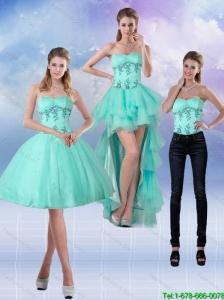 2015 Detachable New Style Sweetheart Apple Green Prom Dresses with Appliques