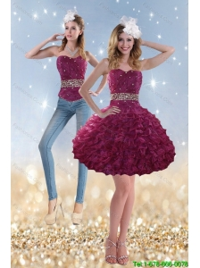 2015  Detachable Romantic Beading and Ruffles Prom Dress in Wine Red
