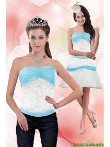 Classical 2015 Detachable Strapless Column Appliques Prom Dress in White and Blue