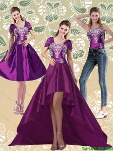 Detachable Classical High Low Embroidery Dark Purple Prom Dresses for 2015
