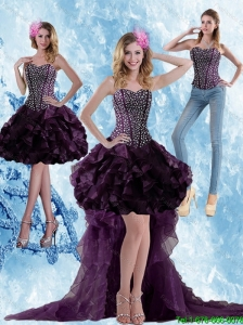 Detachable Elegant High Low Dark Purple Prom Dress with Ruffled Layers and Beading