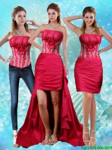 Detachable Elegant Strapless Embroidery Red Prom Dresses with Hand Made Flower and Embroidery