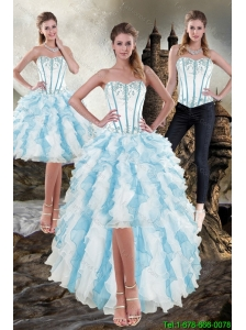 Detachable and Elegant Sweetheart White and Blue 2015 Prom Dress with Appliques and Ruffles