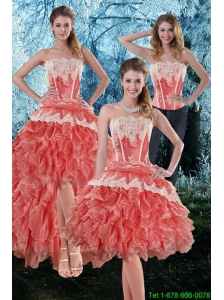 Detachable Inexpensive 2015 Appliques and Ruffles Strapless Prom Dress in Watermelon