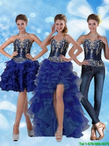 Detachable Most Popular Sweetheart Prom Dresses with Ruffled Layers and Embroidery