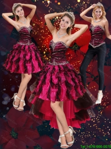 Detachable New Style Multi Color High Low Sweetheart Prom Dresses with Beading and Ruffles