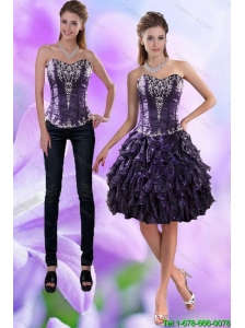 Detachable Pretty Sweetheart Dark Purple 2015 Prom Dress with Appliques and Ruffles