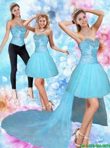 Detachable Unique High Low Sweetheart Beading Prom Dresses in Baby Blue