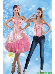 Detachable Affordable 2015 Sweetheart Embroidery Prom Dress in Rose Pink