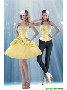 Detachable Delicate 2015 Strapless Beading and Pick Ups Prom Dresses in Yellow