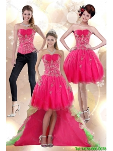 Detachable Discount 2015 High Low Appliques Strapless Prom Dress