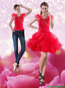 Detachable Gorgeous 2015 Knee Length Red Prom Dress with Beading and Ruffles
