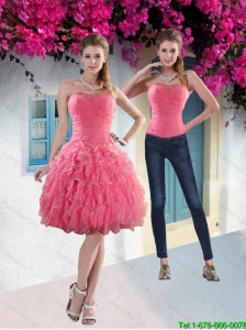 Detachable Pretty 2015 Strapless Watermelon Prom Dress with Beading and Ruffles