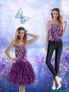 Detachable Remarkable 2015 Strapless Purple Prom Dress with Appliques and Ruffles