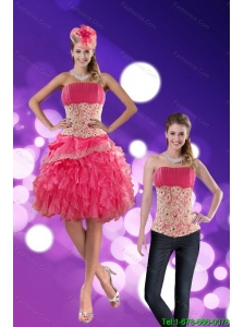 Detachable Wonderful Strapless 2015 Prom Dress with Appliques and Ruffles