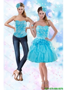 2015 Appliques and Pick Ups Strapless Prom Dress in Baby Blue