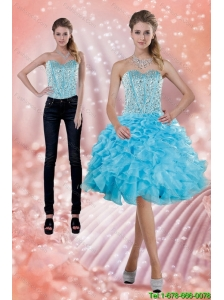 2015 Detachable Fitting Baby Blue Prom Dress with Beading and Ruffles