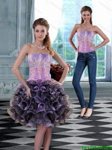 2015 Detachable Luxurious Strapless Prom Dress with Appliques and Ruffles