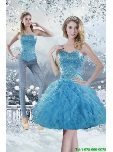2015 Detachable Modest Sweetheart Aqua Blue Prom Dress with Beading and Ruffles